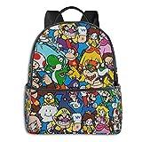 Jupsero Bolsa de viaje Bolsas para portátil Su-per Ma-rio Cartoon Anime Backpack Smooth Zipper Travel Bag Laptop Bags ,Suitable for College, School, Casual Daypacks 14.5 x 12 x 5 Inch
