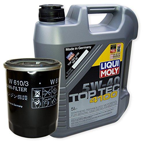 LIQUI MOLY Top Tec 4100 5W-40 3701 + MANN FILTER Ölfilter W 610/3