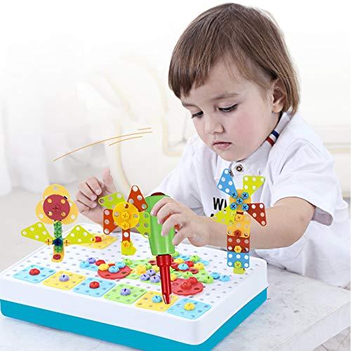 BeebeeRun Juguete Rompecabezas 4 en 1 Juguete Rompecabezas Juguete Mosaico Juguete Eléctrico, Rompecabezas Bricolaje, Construcción de Juguetes, Creativos Juguetes (193PCS)
