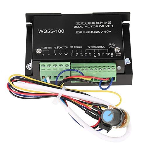 Luroze Controlador de Controlador de Motor, Controlador de Motor BLDC trifásico Controlador de Motor de CC sin escobillas, Control de Voltaje/potenciómetro Externo para Ventilador de Escape