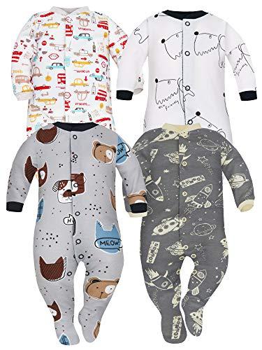 Sibinulo Jungen Mädchen Baby Schlafstrampler mit rutschfest, Kleinkind 12-18 Monate Babykleidung Set 4er Pack Hunde, Tiere, Kosmos, Autos 86