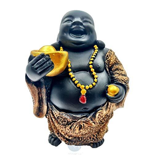Mindful Maitreya Laughing Buddha Figurine with Gold Ingot/Good Luck Statue/Home Decor