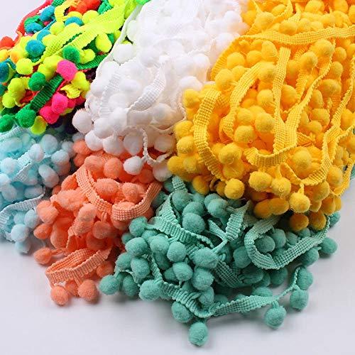 25mm 5 yards tricoté Pom pom dentelle garnitures accessoires de couture à la main bricolage mariage artisanat ruban pompon frange dentelle ruban garnitures, bleu clair