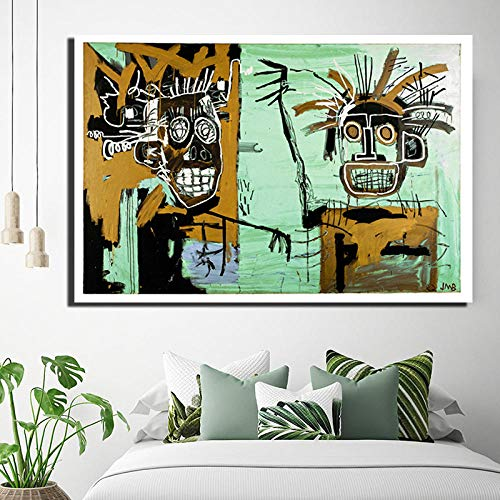 YCHND Cabezas de Graffiti Cuadrosde Lienzo de Arte Dorado Impresiones de la Calle Cuadro Abstracta Cuadros Mural para el Dormitorio Sala de Estar decoración de la Pared del hogar 70x50cm sin Marco