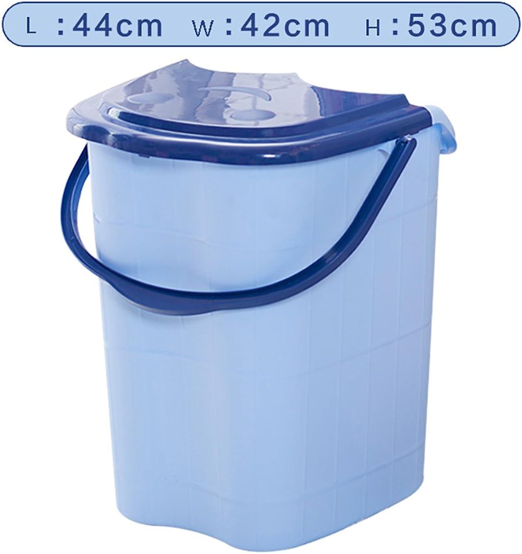 Foot bath, home plastic lake bluee foot bath barrel, portable foot massage basin, foot spa basin, foot bath barrel (Size   444253cm)