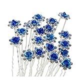 Horquillas Pinza Pelo Flor de Diamantes de Imitación con Diseño en Forma de U para los Accesorios de Pelo Novia (Azul)