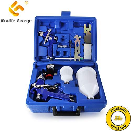 Madlife Garage 2 x 100ml + 600 ml HVLP Lackierpistole Spritzpistole Spraypistole Druckluft Farbspritzpistole 0,8 + 1,3mm Düse Set