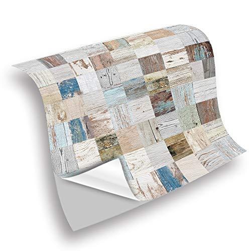 Fupeiwen 25pcs Adhesive Wallpaper, Selbstklebende wasserdichte Vinylfliesenaufkleber, Stick Tile Decals zum Dekorieren Wohnzimmer Küche Schlafzimmermöbel, 10 x 10cm,D