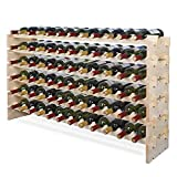 Smartxchoices 72 Modular Wine Rack, Stackable Wine Storage Rack Free Standing Floor Cellar Wine Holder Display Shelves, Solid Wood - Wobble-Free (72 Bottles)