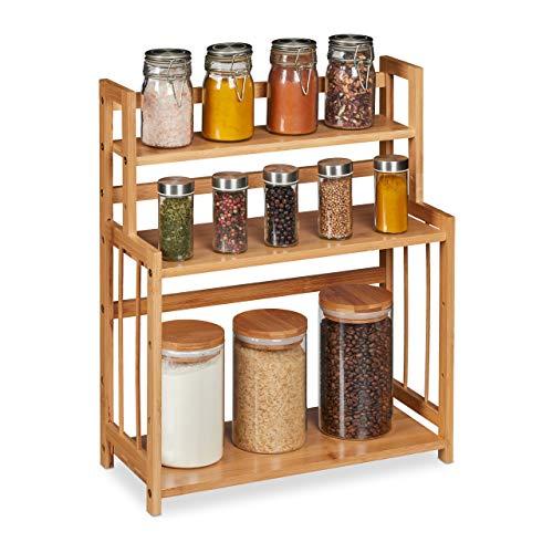 Relaxdays Gewürzregal Bambus, verstellbar, Küchenorganizer für Gewürze, platzsparend, 3 Etagen, HBT 50x41,5x18 cm, natur