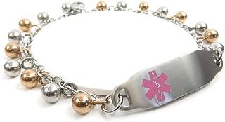 Pre-Engraved & Customized Ladies Blood Type O ID Bracelet, Steel Raindrop