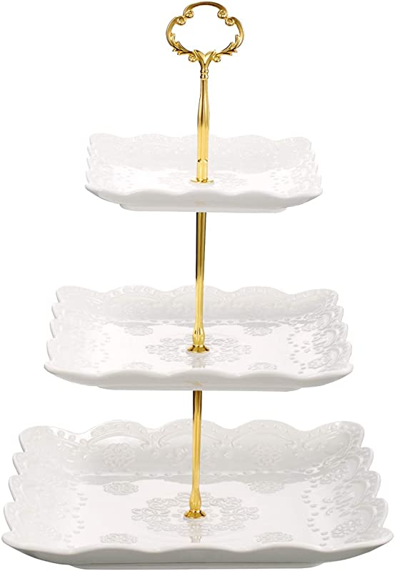 3 Tier Square Ceramic Cupcake Stand Pure White Elegant Embossed Porcelain Dessert Display Cake Stand For Birthday Weddings Tea Party White