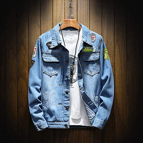 GUOJK Heren Spijkerjassen Trendy Casual Gescheurde Spijkerjassen Herenmode Streetwear Jean Jassen Mannelijke Cowboyjassen Kleding 5Xl