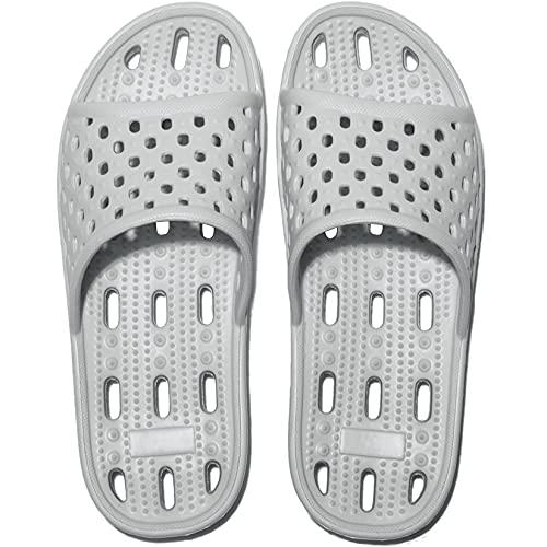 Zapatillas de Ducha para Mujeres Antideslizantes Chanclas y Sandalias de Piscina Sandalias de Baño (Gris, numeric_43)