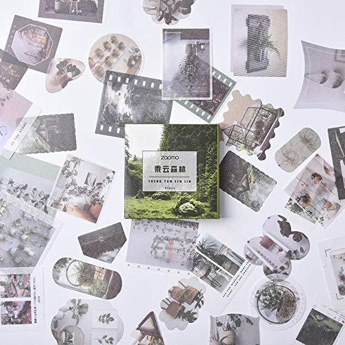 BLOUR 80 unids/Pack Lindo Papel Washi Adhesivo de papelería Conjunto de Dibujos Animados Animal Cactus Parque de Atracciones Etiqueta de decoración para Diario de álbum de Recortes