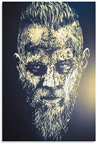 """ZRRTTG Lienzo Pintura Al óLeo King Ragnar Lothbrok Vikings e Imagen para decoración de Sala de Estar Poster Y Estampados Arte Cuadros 19.7""""x27.6""""(50x70cm) Sin Marco"""