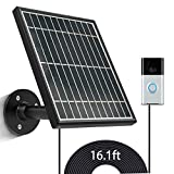 sumaitong Solar Panel Compatible with Video Doorbell 1 2020 Release,Waterproof Solar Panel with 16ft/4.9m Charging Cable,Includes Detachable Flexiable Wall Mount((No Include Camera)