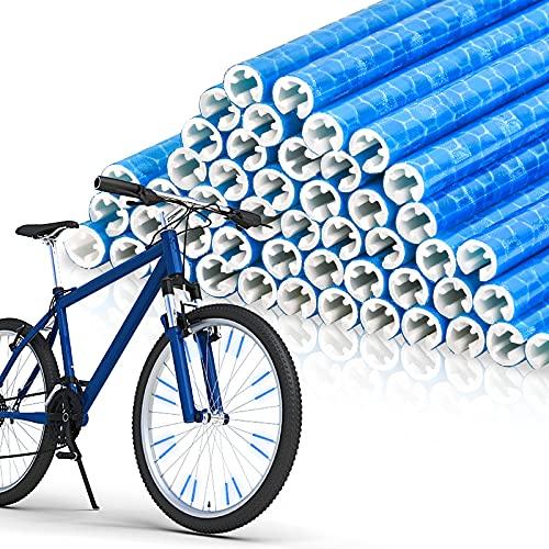 EKKONG Speichenreflektoren 48 Stück,Speichen Reflektor Warnstreifen Fahrradspeichen für Clips Geeignet für alle gängigen Speichenräder (Blau)
