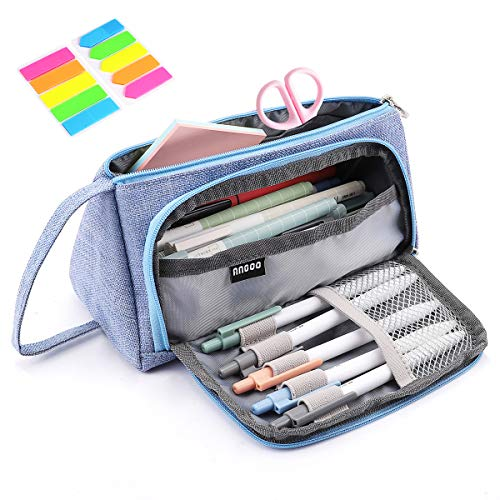 Pencil Case Yloves Big Capacity Pen Pencil Bag Pouch Box Organizer Holder with 2 PCS Index Tabs for School Office Light Blue