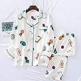 XFLOWR Spring Fresh Pyjama Sets Women 100% Gauze Cotton Cartoon Manga Larga Casual Cozy Sleepwear Women Pyjamas L color01