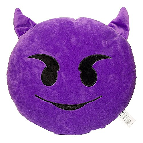 EvZ 32cm Emoji Smiley Emoticon Purple Round Cushion Stuffed Plush Soft Pillow