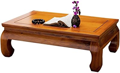 Solid Wood Kang Table Antique Tea Table Solid Wood Low Table and Floor Table Simple Small Coffee Table Living Room Tatami Bay Window Table (Color : Walnut, Size : 60 * 40 * 25CM)