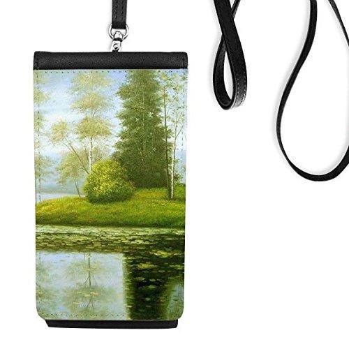 DIYthinker Boom Lake Realisme Olie Scholen Van Impressie Schilderen Faux Leer Smartphone Hangende Handtas Zwart Telefoon Portemonnee Gift