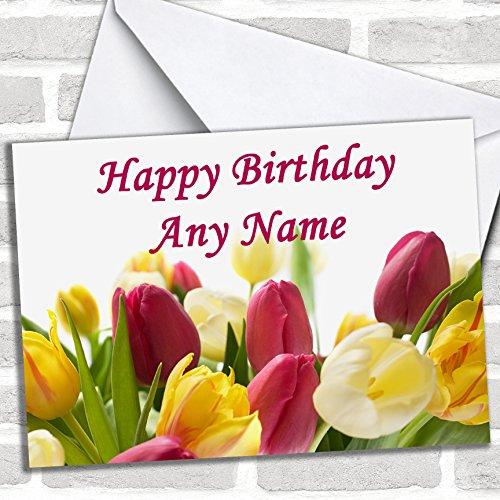 Tulp Bloemen Verjaardagskaart Met Envelop, Kan Volledig Gepersonaliseerd, Verzonden Snel & Gratis