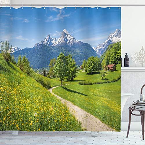 ABAKUHAUS Landschaft Duschvorhang, Wilde Blumen in Den Alpen, Seife Bakterie Schimmel & Wasser Resistent inkl. 12 Haken & Farbfest, 175 x 200 cm, Gelb-grünen