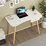 Computer Desk with Drawer, BANIROMAY White Mid Century Modern Desk with Drawer, Simple Study Writing Desk Workstation for Home Office School, Makeup Tables for Bedroom