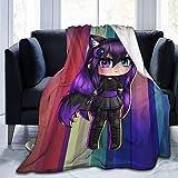 Gacha Life - Manta de forro polar para niña y niño con cola de zorro, estilo Chibi Kawaii Anime Girl, suave, cálida, para sala de estar, dormitorio, cama ligera