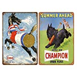 Tin Signs 2 Pieces Reproduction Vintage, Gas Oil Car Metal Signs for Garage Man Cave Bar, Retro Wall Decor, 8x12 Inches (Esso+Champion)