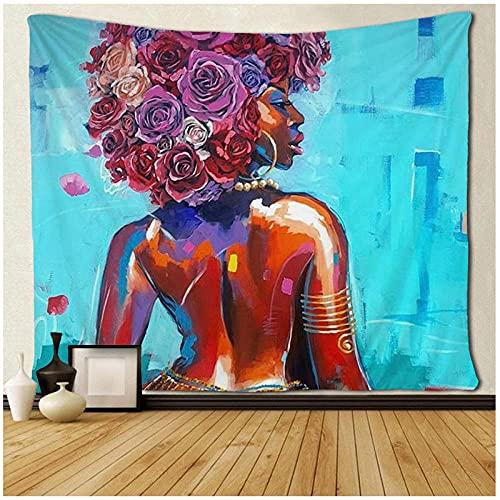 KBIASD Tapices de Pintura de Pelo Rosa para Mujeres Americanas Hippie Art Colgante de Pared para decoración de Dormitorio 150x130cm