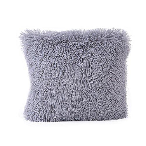 Almohada Funda De Cojín (43x 43cm ronamick Peluche Fundas de almohada cuadrada sofá cojín sofá cama Home Decorative suave Fundas de cojín (, peluche, gris, 43cmX43cm
