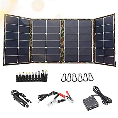 120W Foldable Solar Panel Charger Kit, Portable Solar Panel Briefcase Dual 5V USB and 18 VDC Output Complete Charge Kit with Controller for Portable Generator Power Station, Trailer Camper RV, Boat
