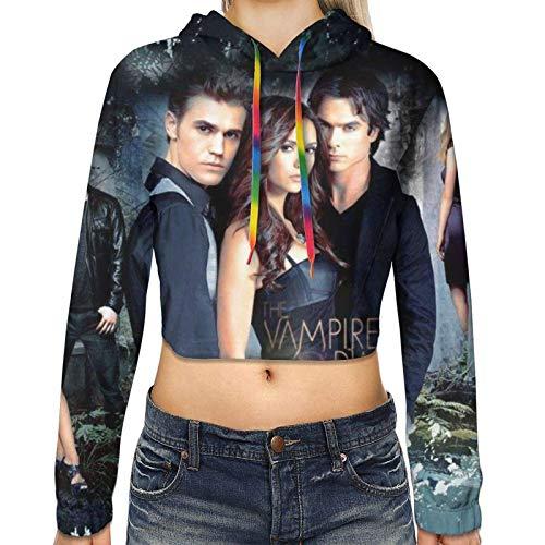 The Vam-Pire Dia-Ries Sweatshirts Crop Tops Long Sleeve Hoodies Casual Pullover Fashion Hoodie for Womens Girls
