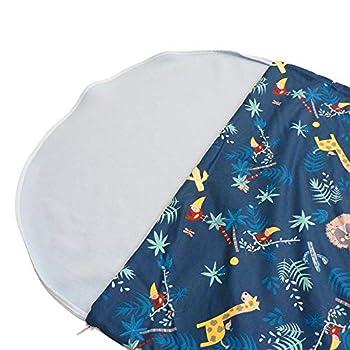 Sac de Couchage, Duvet en Polaire Brode pour Enfant 2-6 Ans (Jungle Bleu Ciel)