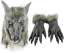 Odowalker Halloween Werewolf Costume Wolf Claws Gloves and Head Mask