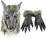 Odowalker Halloween Werewolf Costume Wolf Claws Gloves and Head Mask (Both of them)