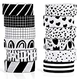 12 Rolls Washi Tape Set Black White 15 mm Wide 7 Meters Long Masking Decorative Paper Tape Adhesive Paper Tape for Scrap-Booking, DIY Wrapping Decoration Craft (Stylish Style)