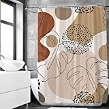 SHENGJUN 72x72 Brown Abstract Tropical Leaves Shower Curtains for Contemporary Bath Bathroom Decors Botanical Aesthetic Plants Modern Artistic Home Fabric Waterproof Shower Curtain Set with 12 Hooks