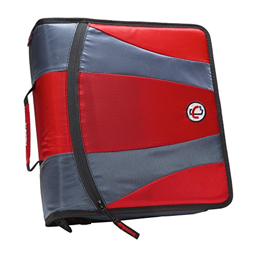 Case-it 2-in-1 Zipper D-Ring Dual Binder, Includes 2 Sets of 2-Inch Rings, 1 Count, Red (Dual-301-Red)