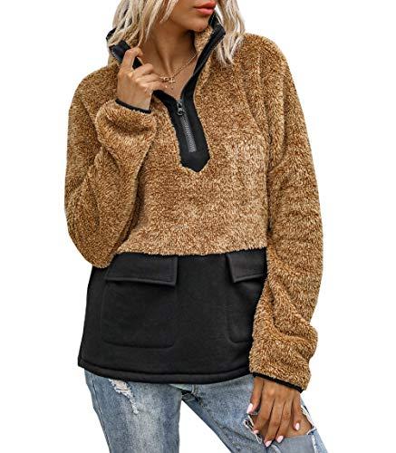 PRETTYGARDEN Women's Warm Long Sleeves Fleece Pullover Coat Sweatshirts Outwear (Brown, Large)