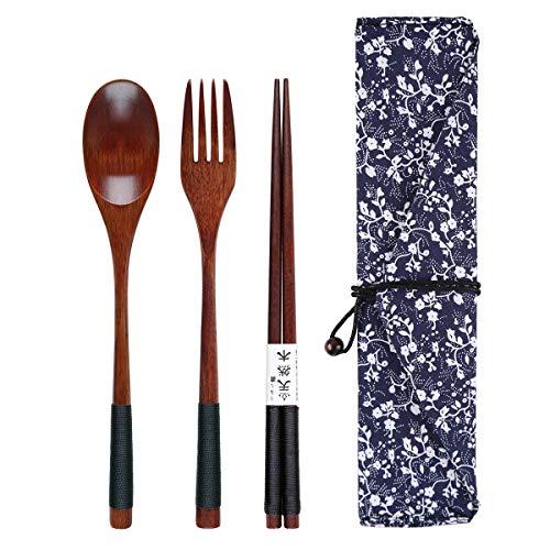 Yinuoday Palillos de Madera Cuchara Tenedor Set Utensilios de Viaje de vajilla de Estilo japonés con Bolsa para Camping, Picnic, Oficina u hogar (Style A)