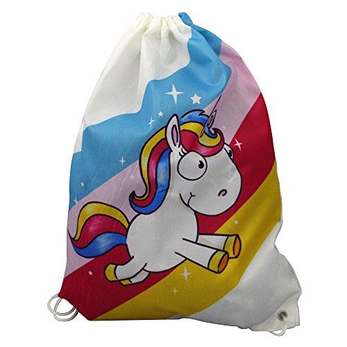 Preis am Stiel 1 x Fashion-Beutel Comic Einhorn weiß - mit Regenbogen   Rucksack für Kinder   Turnbeutel für Mädchen   Einhorn Beutel   Sportbeutel für Kinder