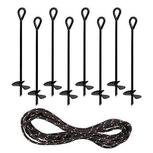 Yesland 8 Pack 15 Inch Black Ground Anchor, Reusable Heavy Duty Steel Wind Stakes, 3/8 Inch Thick in Diameter with 25 Feet of Rope