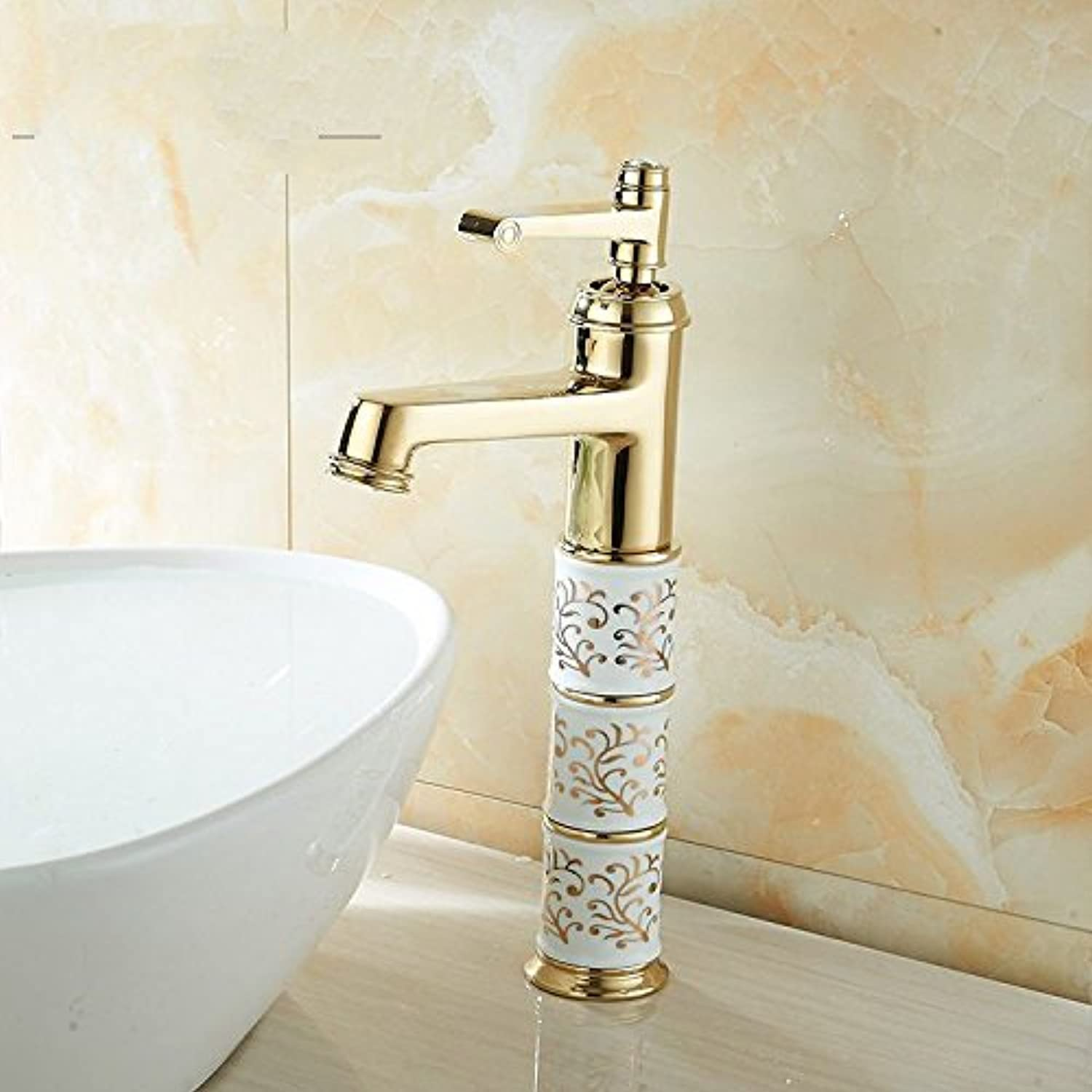 Lalaky Taps Faucet Kitchen Mixer Sink Waterfall Bathroom Mixer Basin Mixer Tap for Kitchen Bathroom and Washroom Hot and Cold All Copper gold Single Hole Antique