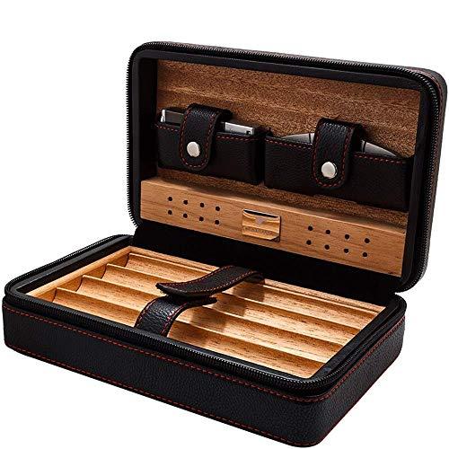 Lloow Sigarendoos Sigarendoos - Draagbare hydraterende cederhouten koffer sigaarsnijder aansteker set