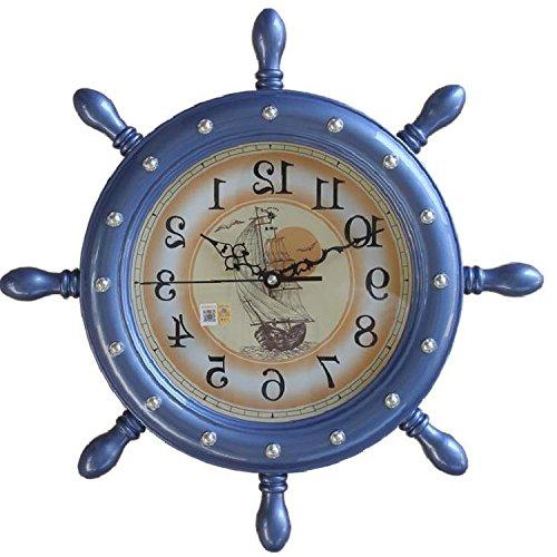 HUANGYAHUI Despertador Al Timón Del Barco Lanza Reloj De Pared Relojes De Salón Grande Reloj De Pared Reloj De Cuarzo De Silencio, 20 Pulgadas, Flash Flash Azul Azul