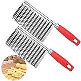 Allgemein 2 cortadores de patatas acero inoxidable cortador de ondulado para papas cortar las papas en hermosas ondulado